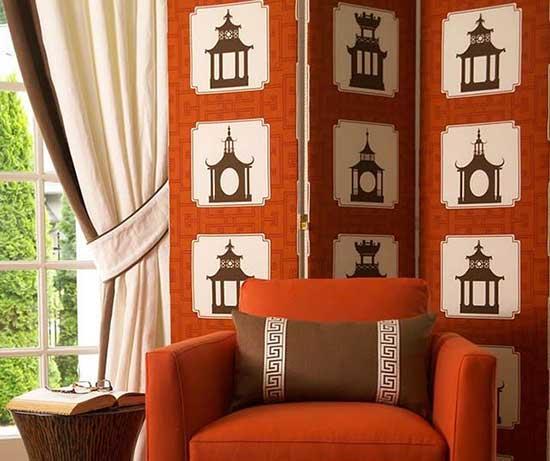 декоративная оранжевая ширма