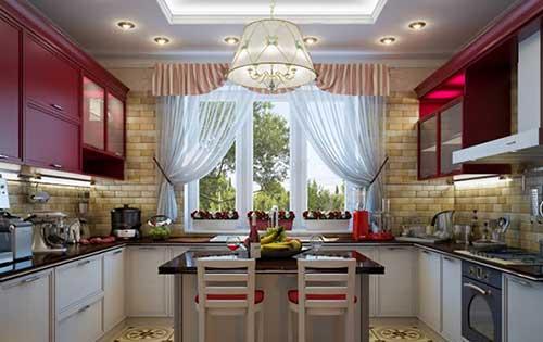 полосатые занавески на кухню