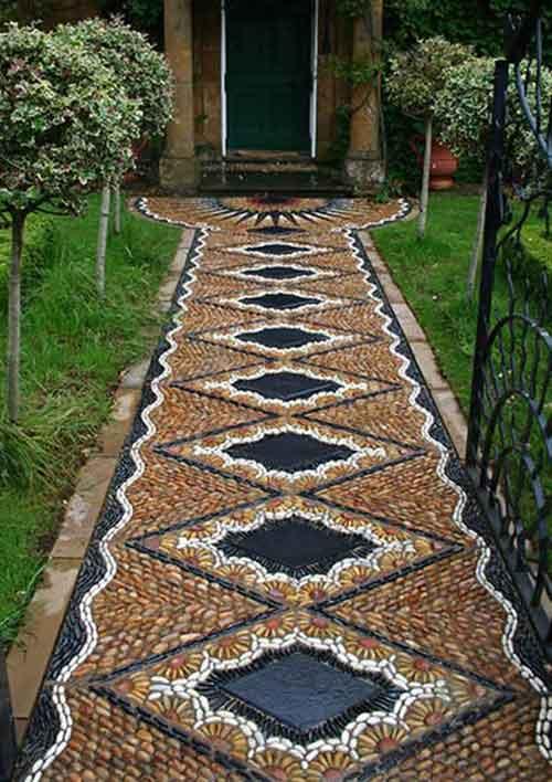 каменная мозаика в саду