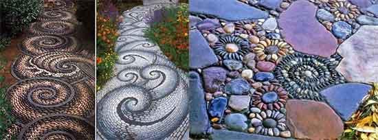 мозаика из камня на садовой дорожке