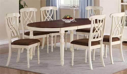 обеденный стол овальный бело-коричневый
