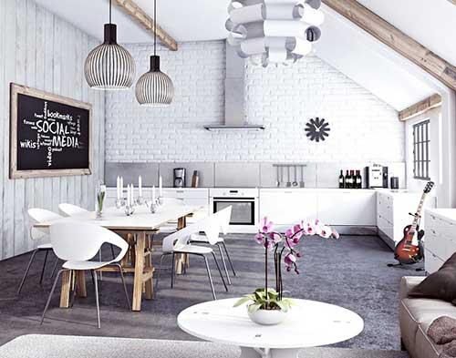 черно-белый и стальные стены на кухне