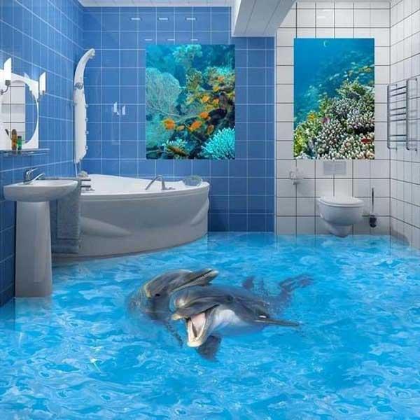 виниловое покрытие в ванной