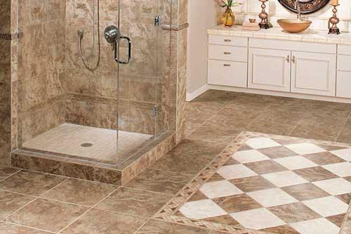 керамическая плитка в ванной на полу
