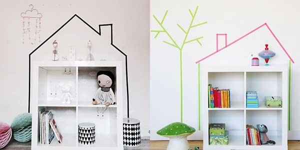 воши тейп (washi tape) идеи для детской  - кукольный домик