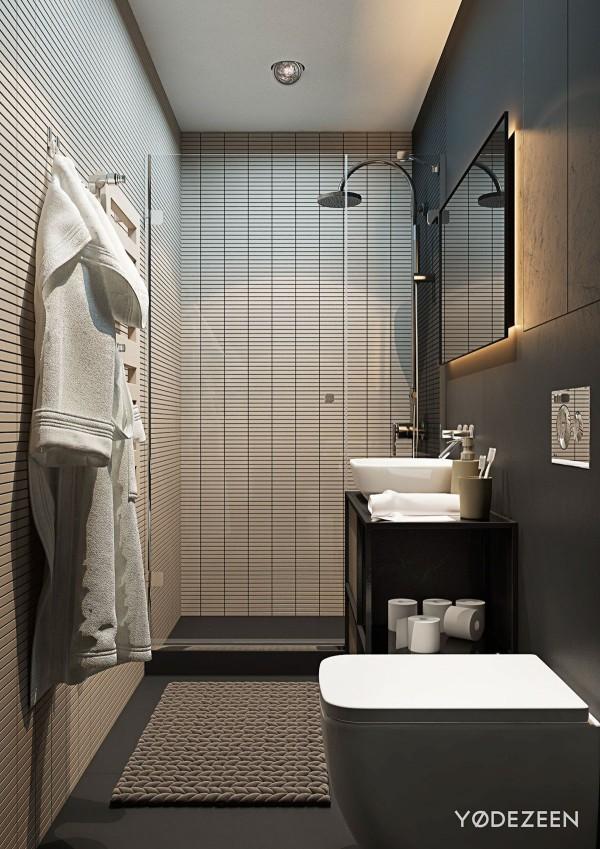 дизайн узкой ванной в квартире студии