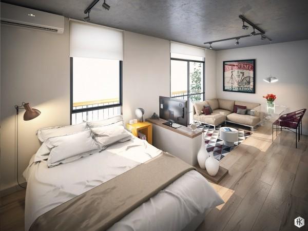 Открытое пространство для спальни в квартире студии